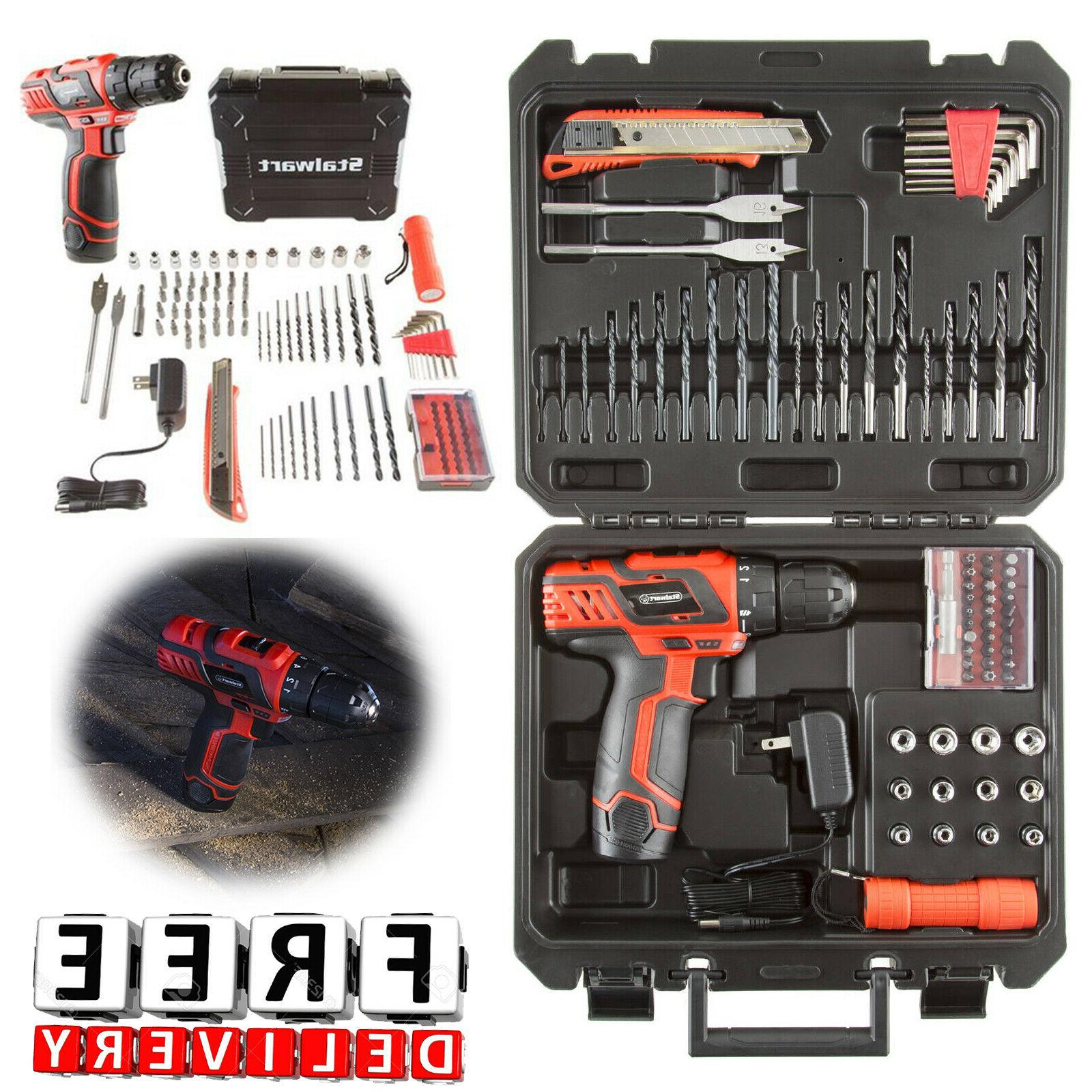 Cordless Drill Set 12V 75Pc Kit Case Battery Portable Driver