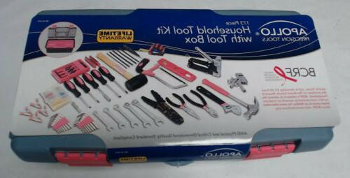 Apollo Household 173 Pc Tool Kit with Tool Box ~ NEW Pink Wo