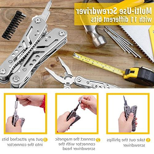 Multitool 24-in-1 Pocket Tool Plier Heavy Multi-purpose Tool for with Multifunctional & Nylon Sheath