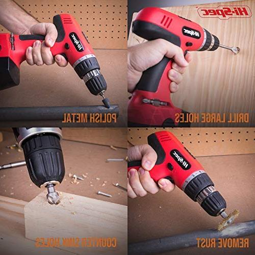 Hi-Spec 18V Cordless Speed Driver Drill & Screwdriver Sockets Brushes DIY, Carpentry, With Professional Case