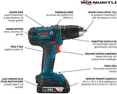 Bosch Tools Kit DDB181-02 Compact Drill Driver Kit With Ion