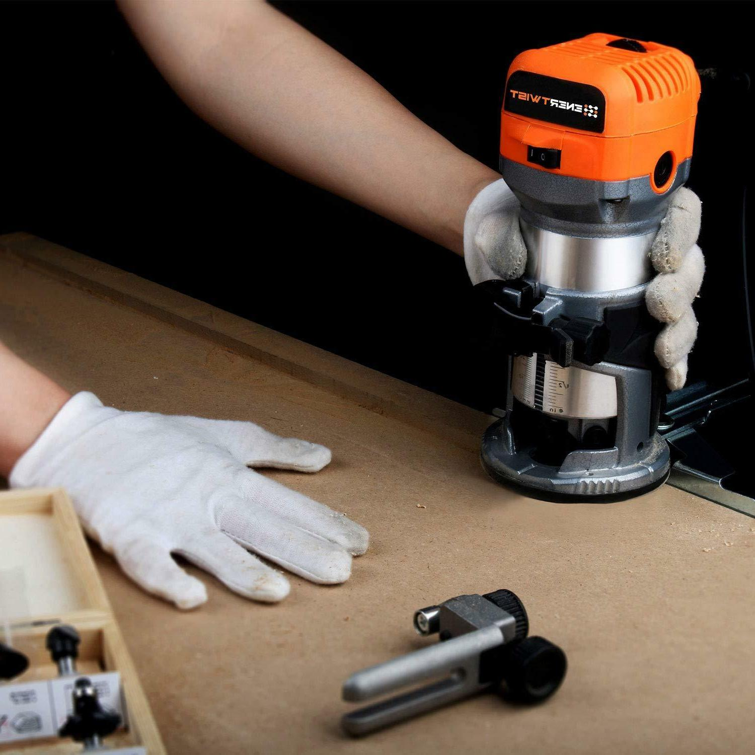 Compact Router Tool Soft Start with Fixed Base, Guide,