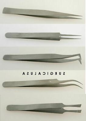 Tool Kit of 5 Tweezers for Watch Maker and Jewelry Repairs P