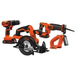NEW BLACK+DECKER 4-Tool 20-Volt Power Tool Combo Kit with Ch