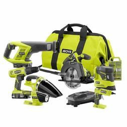 Ryobi 18-Volt ONE+ Cordless Lithium-Ion 7-Tool Combo with Ba