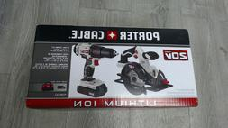 PORTER CABLE 20V Max Lithium Ion 2 Tool Combo Kit Circular S