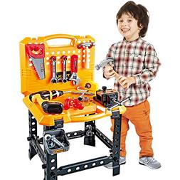 Toy Choi's 100 Pieces kids Power Workbench with Realistic To