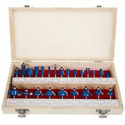 """New Router Bit Set- 24 Piece Kit with ¼"""" Shank and Wood S"""
