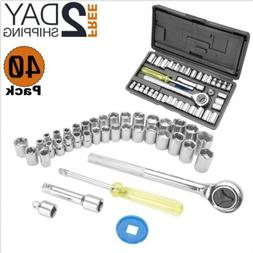 Small Ratchet Wrench Socket Tool Kit Set Case Universal Ratc