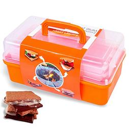 SUMPRI Smores Caddy with TWO FOLDING TRAYS -Smore Box That K