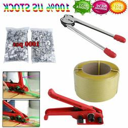 Strapping Tool Kit w/ 1 Roll Poly Strap  Total) & 1000pcs Me