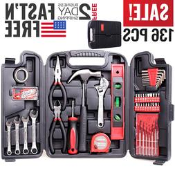 Tool Set Kit Mechanic Hand Tools Socket Screwdriver Wrench H