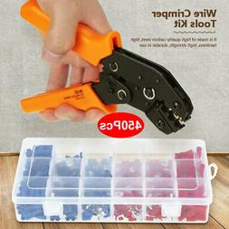 Wire Crimper Plier Crimping Tool Kit w/450Pcs Electrical Ter