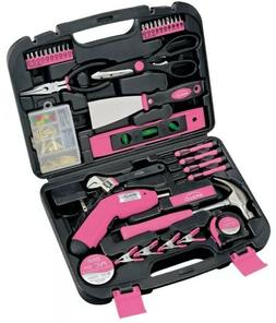 Womens Household Tool Kit Pink 135-Piece Toolbox with Dril